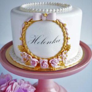 Ніжний торт з мастичних квіткою і бантиком