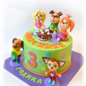Зелений тортик з фігурками мультиків