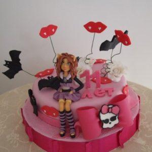 Торт в розовых тонах с героиней мультфильма