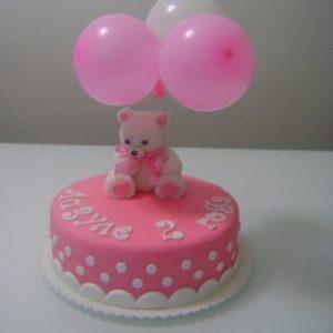 Виртуозный розовый торт с мишкой воздушными шариками
