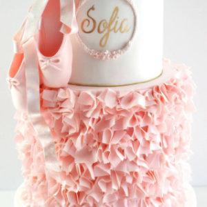 Белый нежный тортик с пуантами