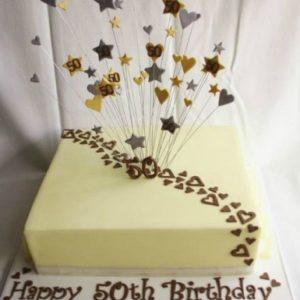 Квадратний торт з салютом із зірок і сердечок