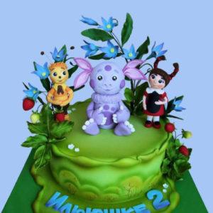 Зелёный тортик с Лунтиком и его друзьями