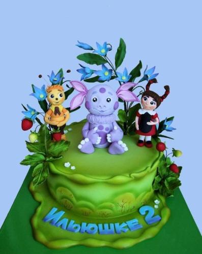 Детский торт на заказ с персонажами мультфильма Лунтик