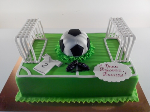 Корпоративный торт на заказ в виде футбольного поля для футболиста