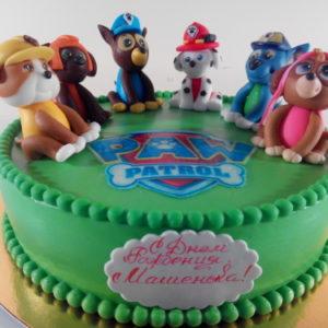 Торт з фігурками собачок з мультфільму «paw patrol»