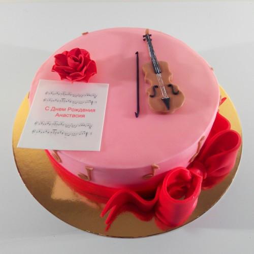 Корпоративный торт на заказ со скрипкой для музыкантов
