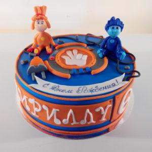 Сине-оранжевый торт с фигурками фиксиков