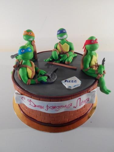 Детский торт на заказ с персонажами мультфильма Черепашки Ниндзя