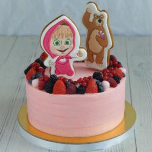 Розовый торт с фруктами и аппликацией Маши и Медведя