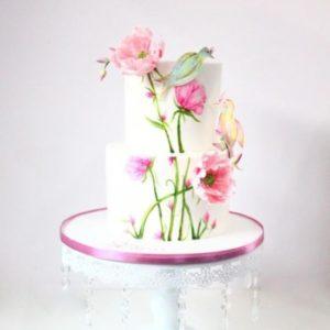 Торт з 3D малюнком квітів і птахів