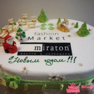 Тортик у вигляді лісової галявини з дідом Морозом