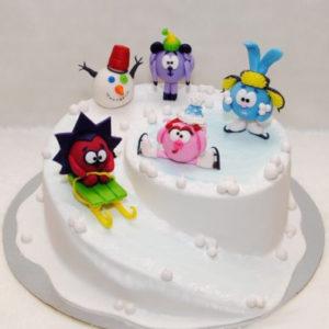 Торт «Зимние смешарики»