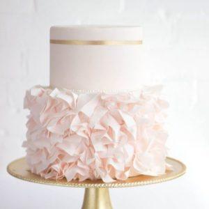 Двох'ярусний рожевий торт