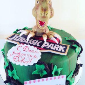 Зелёный торт на тематику Парка Юрского периода