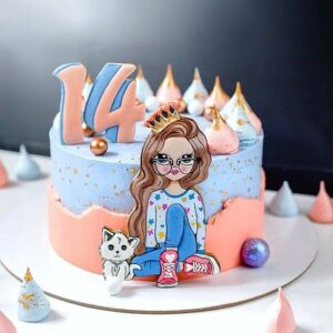 Торт з малюнком дівчинки