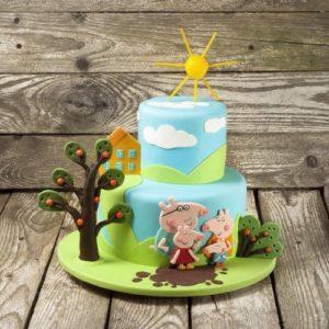 Солнечный тортик с фигурками семьи свинки Пеппы