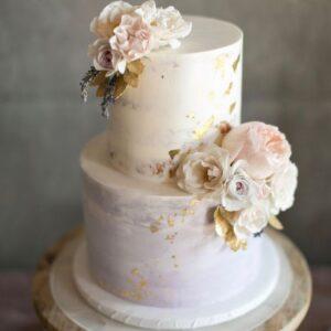 Двох'ярусний торт з позолотою