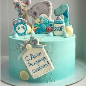 Торт с данными о новорожденном