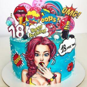 Торт с топперами на 18 лет девушке