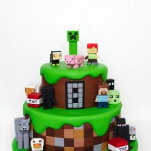 Торт майнкрафт два яруса