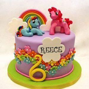 Фиолетовый тортик украшенный стилистикой «My little pony»