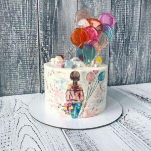 Торт «девочка с шариками»