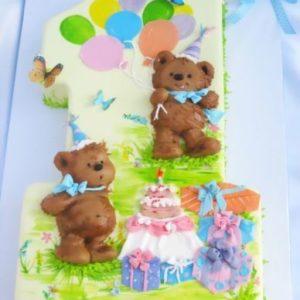 Тортик в виде единички с медведями