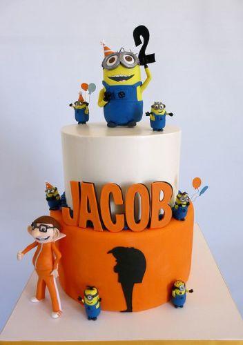 Детский торт на заказ с персонажами мультфильма Миньоны