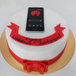 Белый тортик с красными ленточками и телефоном Huawei из мастики