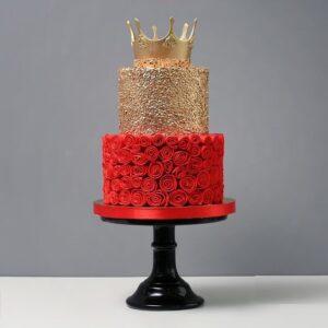 Торт красно-золотой с короной