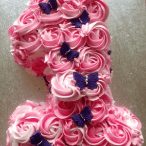 Торт цифра 1 для девочки с цветами