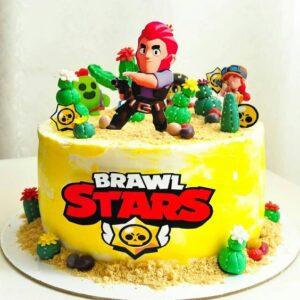 Торт з фігурками героїв «Бравл Старс»