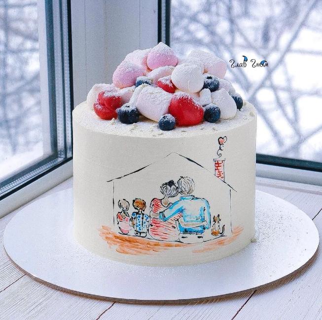 Торт с рисунком семьи